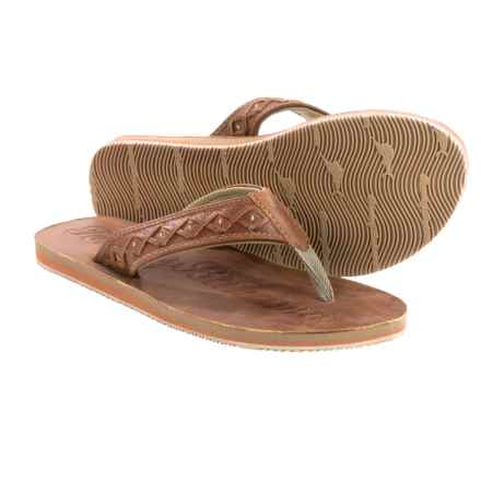 Tommy Bahama Waiheke Flip-Flops - Leather (For Men) in English Tan - Closeouts
