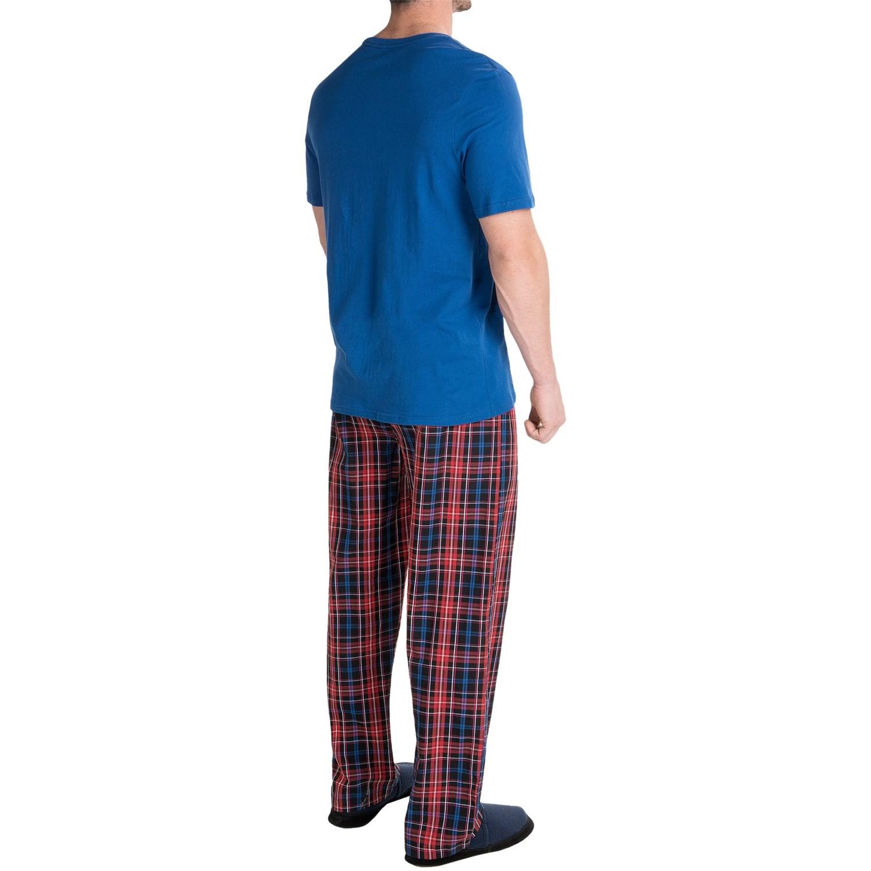 Tommy hilfiger t shirt and poplin pants pajamas for men T shirt and shorts pyjamas