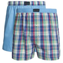 Tommy Hilfiger Woven Boxers Gift Set - 2-Pack (For Men) in Blue Plaid Multi - Closeouts