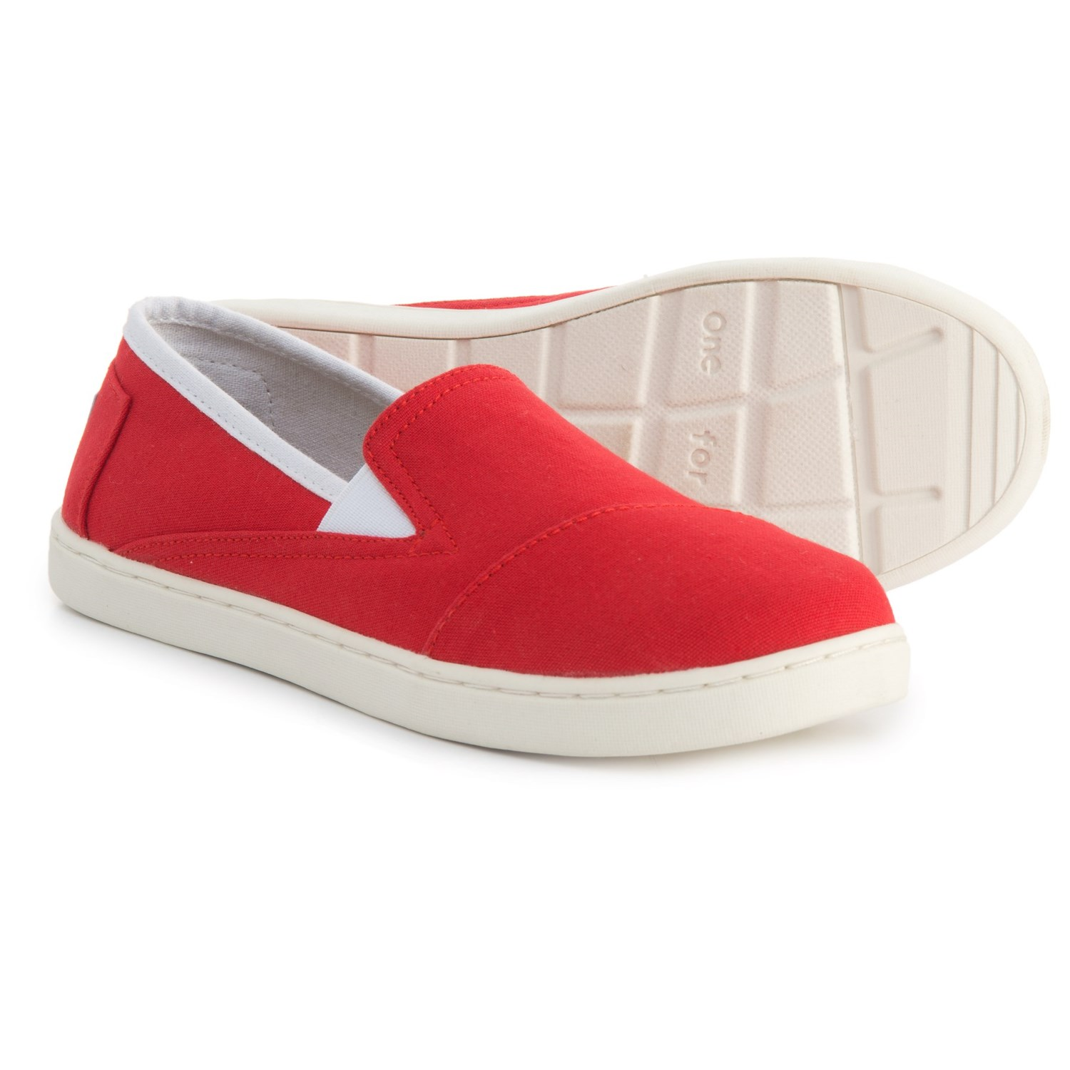 4626a18ef28 TOMS Avalon Canvas Shoes - Slip-Ons (For Girls) in Red