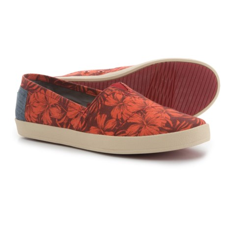 TOMS Avalon Hibiscus Print Shoes - Slip-Ons (For Women) in Red