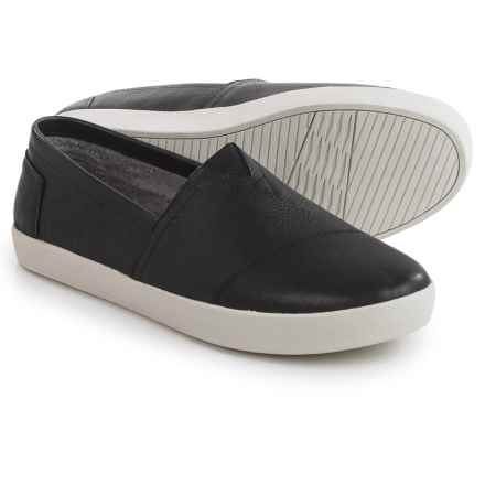 TOMS Avalon Leather Shoes - Slip-Ons (For Men) in Black - Closeouts