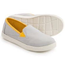 TOMS Avalon Shoes - Slip-Ons (For Little and Big Kids) in Light Grey/Yellow Canvas - Closeouts
