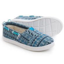TOMS Bimini Shoes - Slip-Ons (For Little and Big Kids) in Blue Print - Closeouts