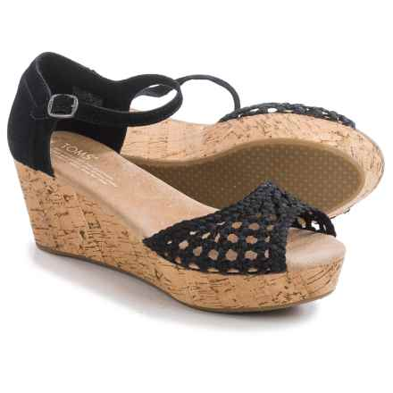 TOMS Black Satin Woven Platform Wedge Sandals (For Women) in Black - Closeouts