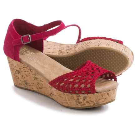 TOMS Black Satin Woven Platform Wedge Sandals (For Women) in Raspberry - Closeouts