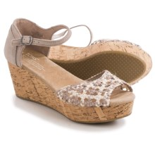 TOMS Black Satin Woven Platform Wedge Sandals (For Women) in Stucco - Closeouts