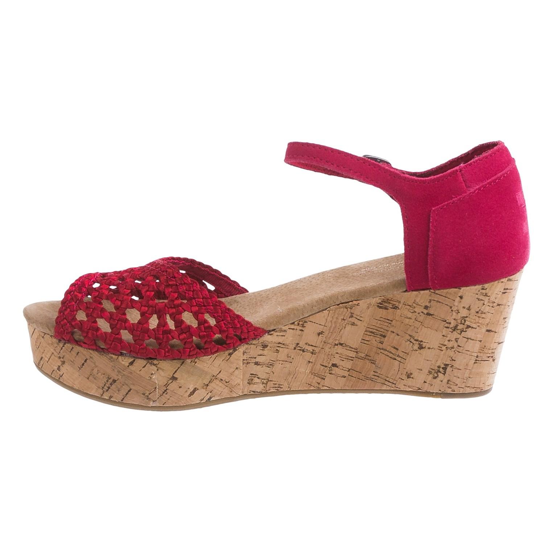 toms black satin woven platform wedge sandals for