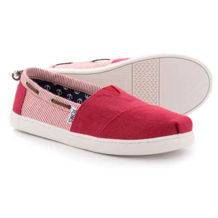 TOMS Burlap Stripes Bimini Shoes - Slip-Ons (For Girls) in Red - Closeouts