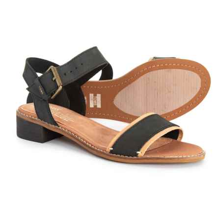 TOMS Camillia Sandals - Leather (For Women) in Black - Closeouts