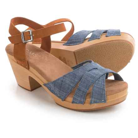 TOMS Chambray Suede Beatrix Clogs (For Women) in Blue Suede - Closeouts