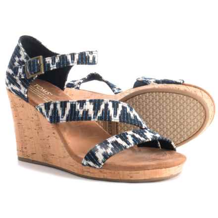 TOMS Clarissa Tribal Print Wedge Sandals (For Women) in Navy - Closeouts