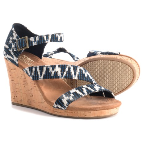 TOMS Clarissa Tribal Print Wedge Sandals (For Women) in Navy