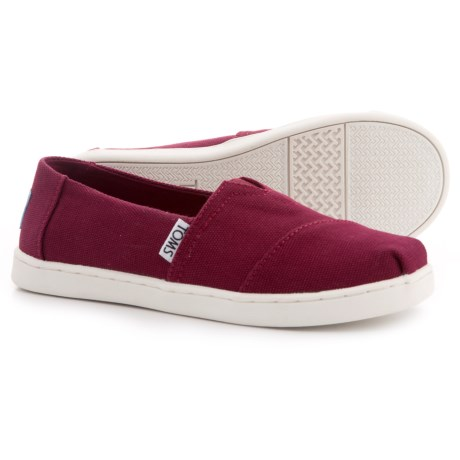 TOMS Classic Alpargata Shoes - Slip-Ons (For Girls) in Burgundy