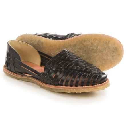 TOMS Classic Huarache Shoes - Leather, Slip-Ons (For Women) in Black - Closeouts