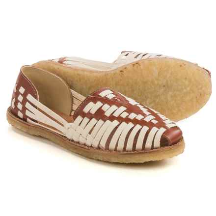 TOMS Classic Huarache Shoes - Leather, Slip-Ons (For Women) in White/Cognac - Closeouts