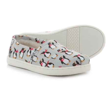 TOMS Classic Penguins Alpargata Shoes - Slip-Ons (For Girls) in Grey - Closeouts