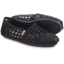 TOMS Classic Satin Woven Shoes - Slip-Ons (For Women) in Black - Closeouts