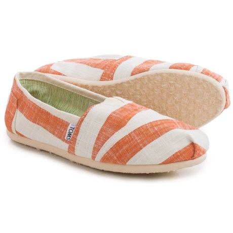 TOMS Classic Stripe Espadrilles (For Women) in Coral/White