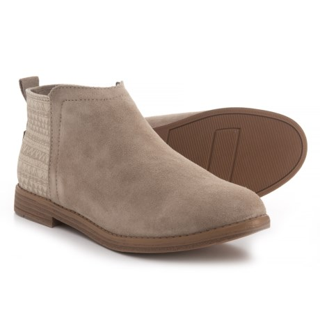 TOMS Deia Booties - Suede (For Girls) in Desert Taupe/Mud Hut