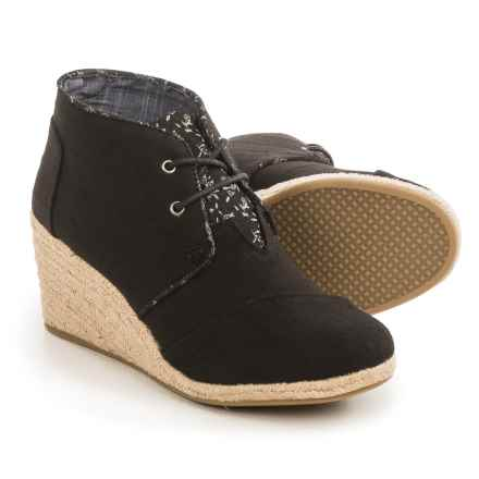 TOMS Desert Wedge Ankle Boots (For Women) in Black - Closeouts