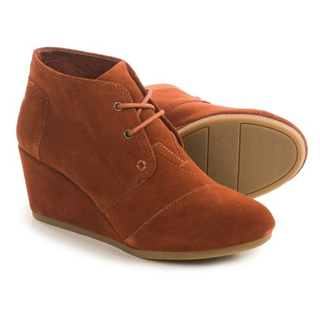 TOMS Desert Wedge Ankle Boots (For Women) in Cognac