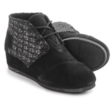 TOMS Desert Wedge Boots (For Big Girls) in Black Suede - Closeouts