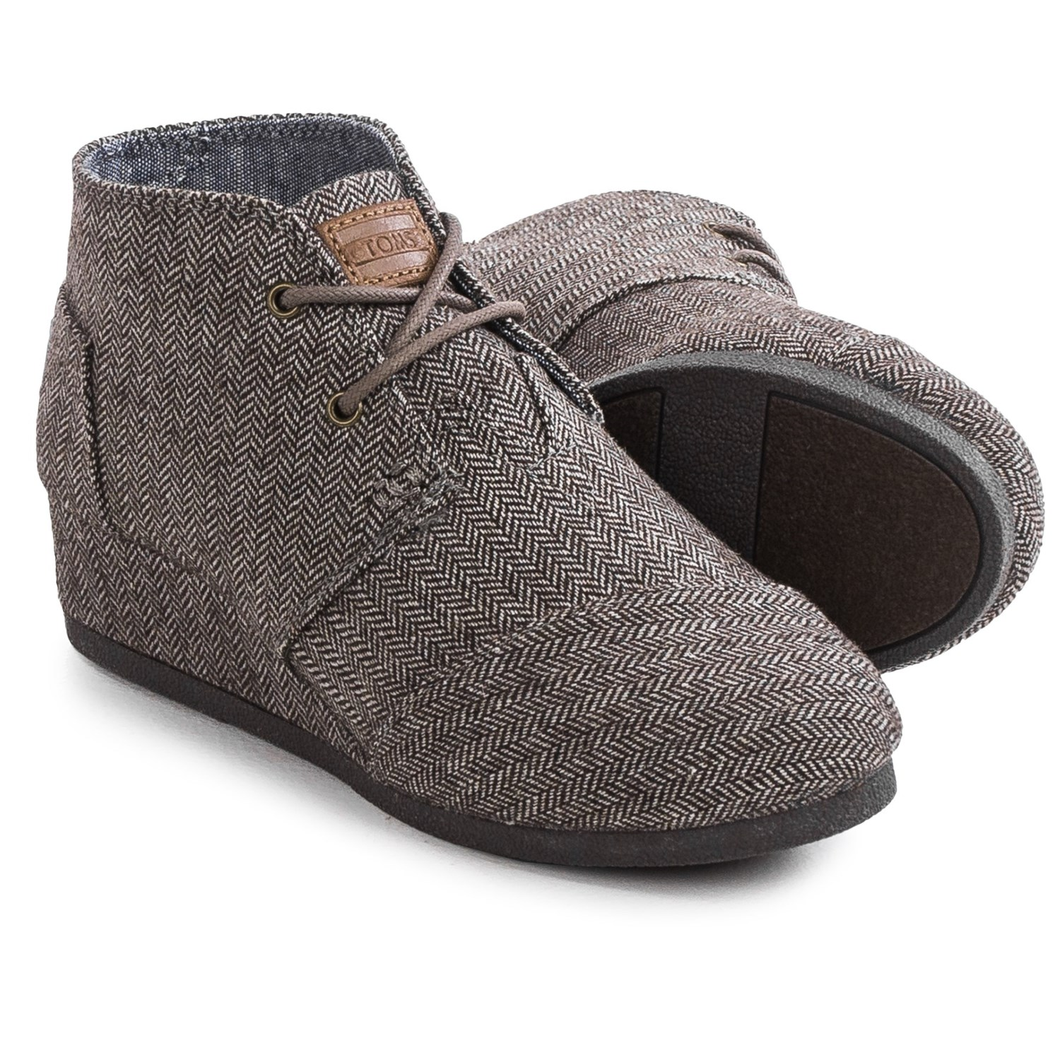 toms desert wedge boots for big
