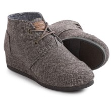 TOMS Desert Wedge Boots (For Big Girls) in Brown Herringbone - Closeouts