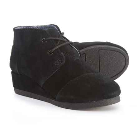 TOMS Desert Wedge Boots - Suede (For Girls) in Black - Closeouts