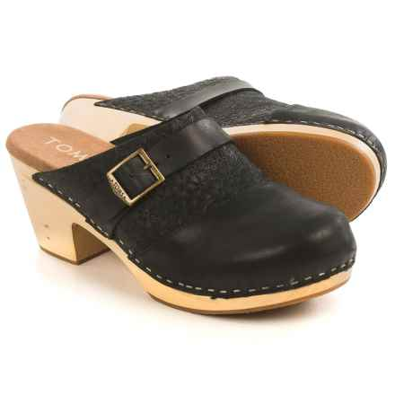 TOMS Elisa Open-Back Clogs - Leather (For Women) in Black - Closeouts