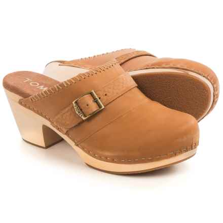 TOMS Elisa Open-Back Clogs - Leather (For Women) in Brown - Closeouts