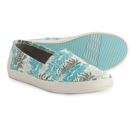TOMS Floral Avalon Canvas Shoes - Slip-Ons (For Women) in Blue/White