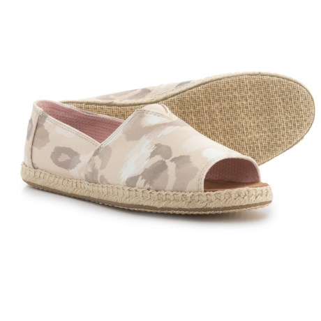 TOMS Floral Open-Toe Alpargata Shoes - Slip-Ons (For Women) in Natural Watercolor