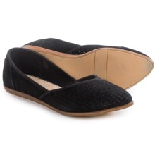 TOMS Jutti Perforated Ballet Flats - Suede (For Women) in Black Suede - Closeouts