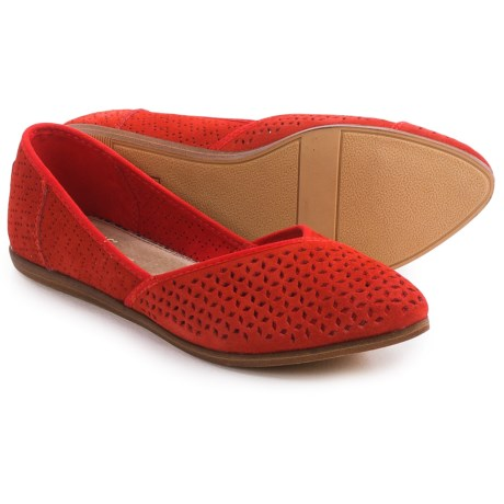 TOMS Jutti Perforated Ballet Flats Suede (For Women)