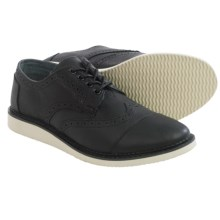 TOMS Leather Classics Brogue Shoes (For Men) in Black - Closeouts