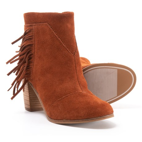 TOMS Lunata Ankle Boots - Suede (For Women) in Cognac Suede