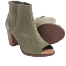 TOMS Majorca Peep Toe Ankle Boots - Quilted Suede (For Women) in Olive - Closeouts