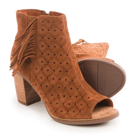 TOMS Majorca Perforated Peep-Toe Ankle Boots with Fringe - Suede (For Women) in Cinnamon