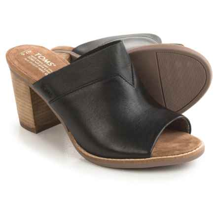 TOMS Majorica Perforated Suede Mules - Peep Toe (For Women) in Black Leather - Closeouts