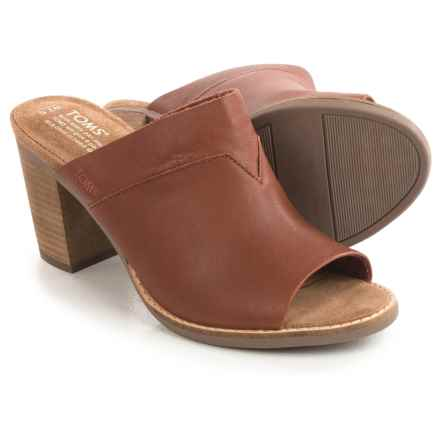 TOMS Majorica Perforated Suede Mules - Peep Toe (For Women) in Cognac Brown Leather - Closeouts