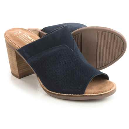 TOMS Majorica Perforated Suede Mules - Peep Toe (For Women) in Navy Suede - Closeouts