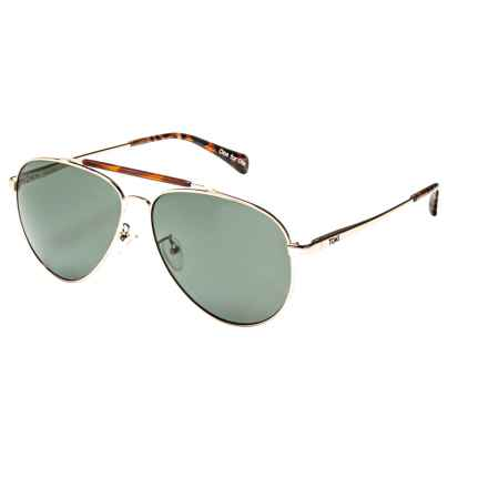 TOMS Maverick 301 Sunglasses - Polarized in Yellow Gold Tortoise/Green Grey - Closeouts