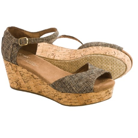 TOMS Metallic Burlap Platform Wedge Sandals (For Women)