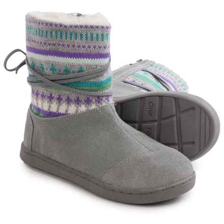 TOMS Nepal Suede Fair Isle Boots (For Little and Big Girls) in Grey - Closeouts