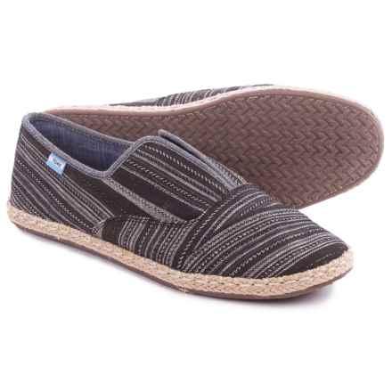 TOMS Palmera Metallic-Stripe Shoes - Slip-Ons (For Women) in Black - Closeouts