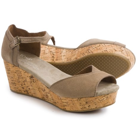 TOMS Platform Wedge Suede Sandals (For Women)