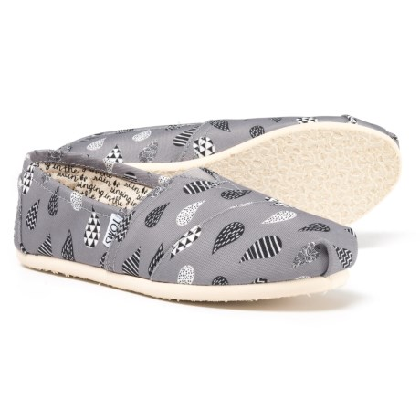 TOMS Rain Drop Alpargata Canvas Shoes - Slip-Ons (For Women) in Grey