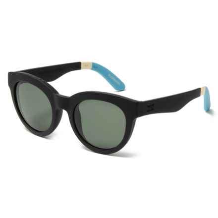 TOMS Traveler Sunglasses in Black Soft Coat/Green Grey - Overstock